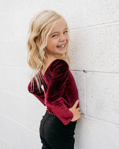 Livee Long Sleeve Velvet Leotard Cranberry