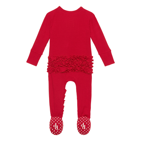 Posh Peanut Ribbed Crimson Ruffled Zippered Footie