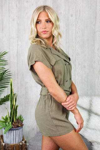 Peyton Button Romper Olive