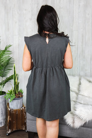 Lexi Capsleeve Babydoll Dress Charcoal