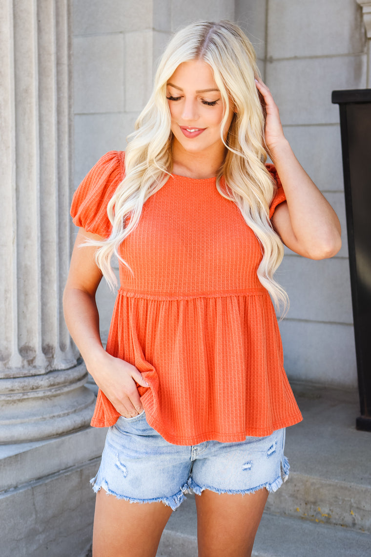 Katie Puff Sleeve Peplum Top