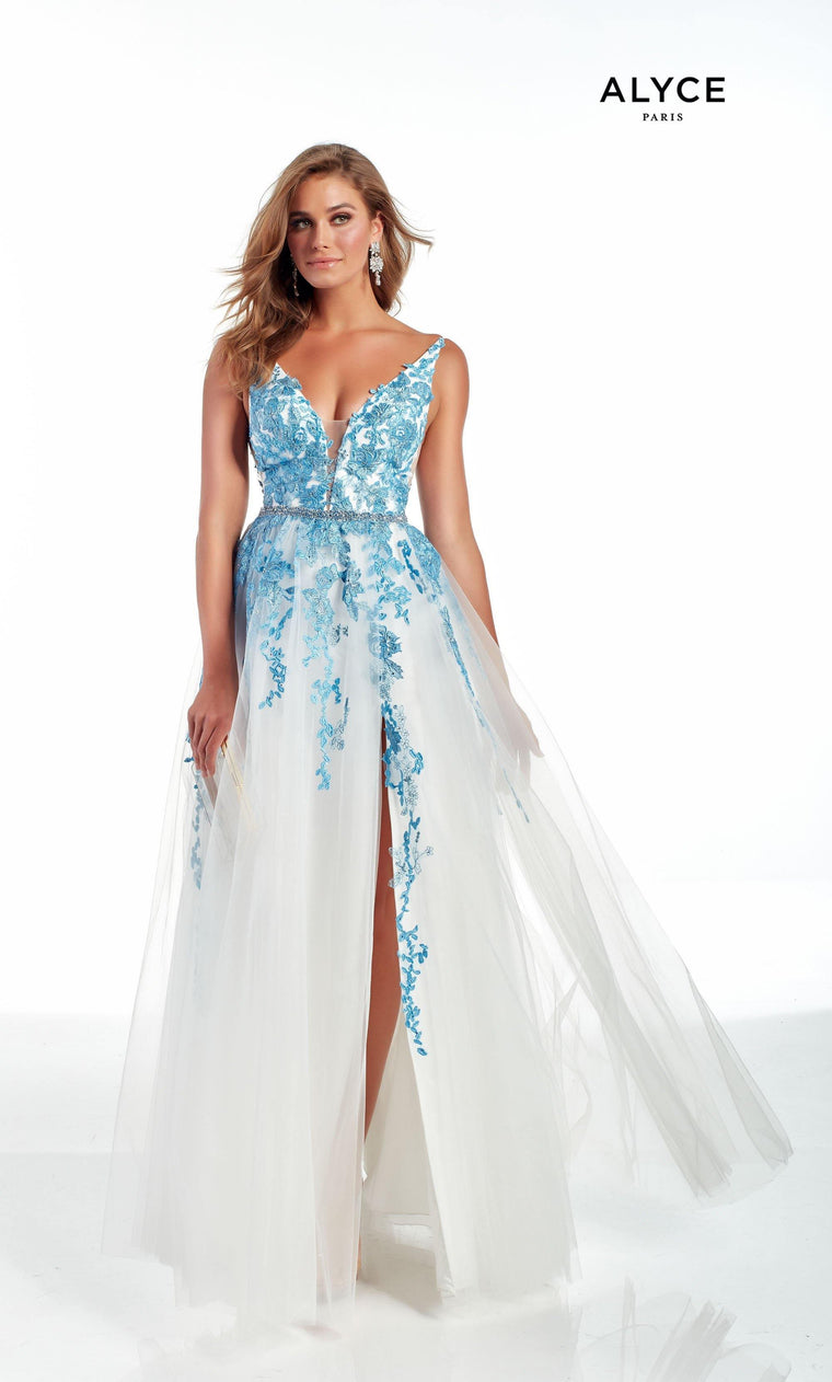 60891 Prom Dress Azure Blue & Diamond White