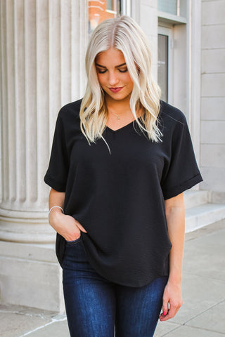 London V-Neck Top Black