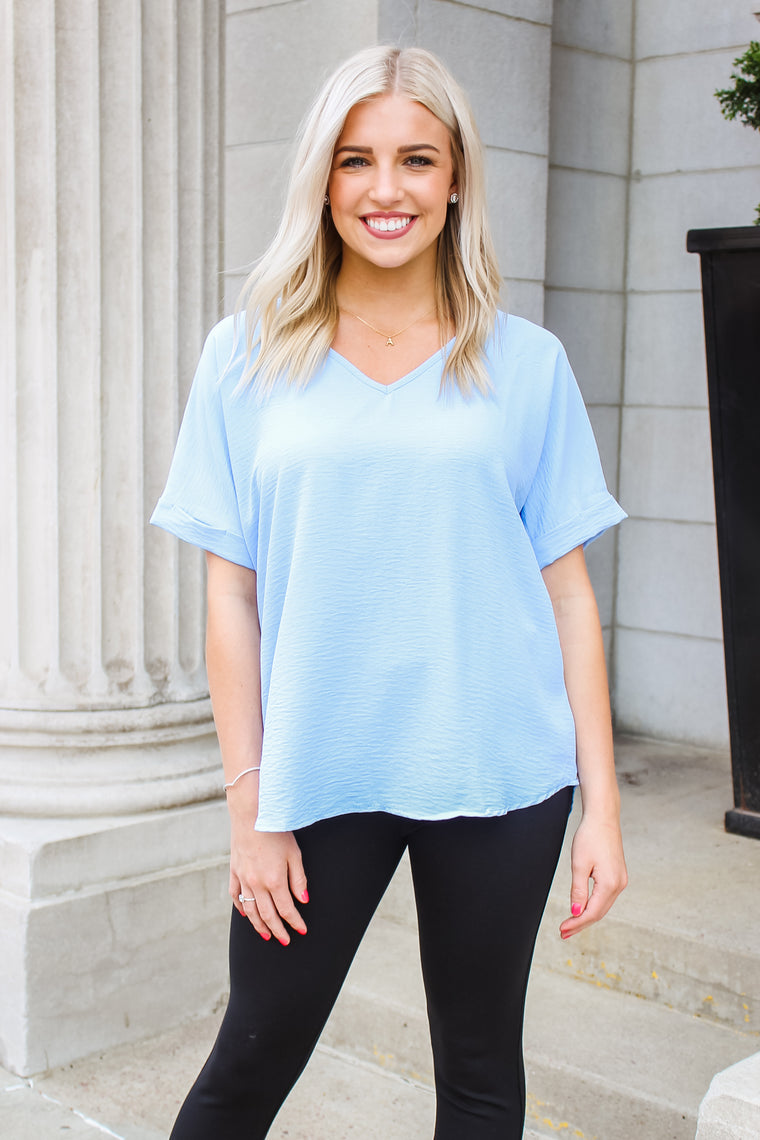 London V-Neck Top Blue