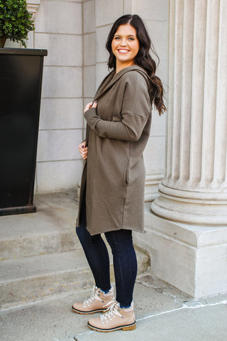 Ellen Hooded Cardigan Olive