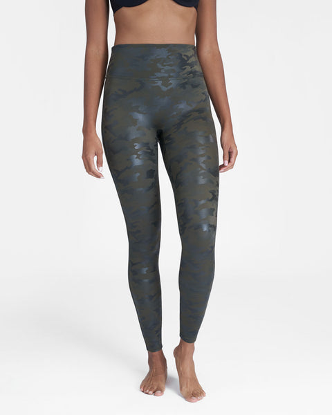 Spanx Faux Leather Camo Leggings Plus