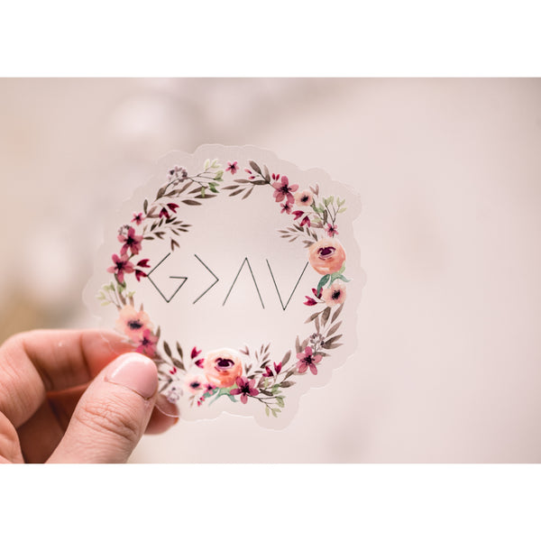 God Is Greater Floral Clear, Vinyl Sticker