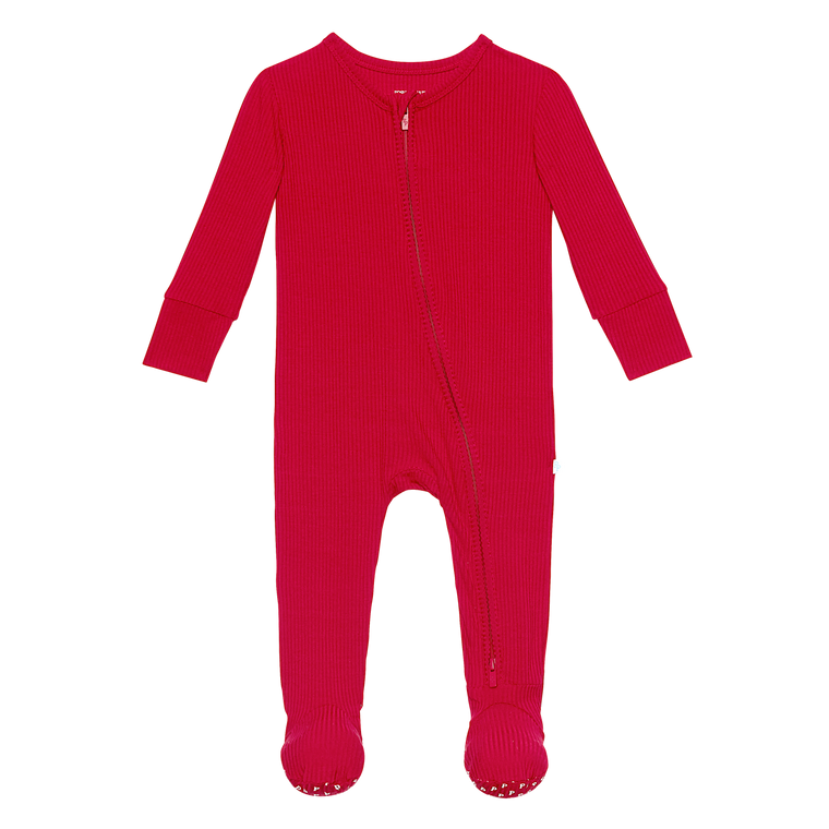Posh Peanut Ribbed Crimson Zippered Footie