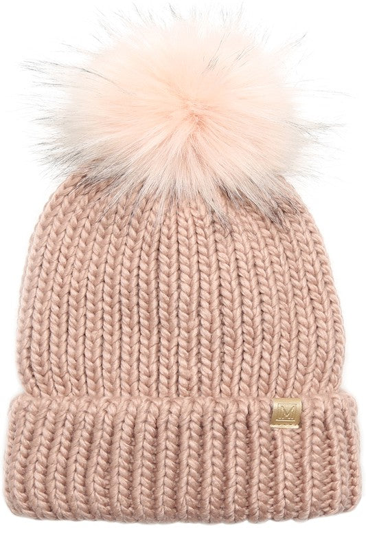 Solid Ribbed Pom Beanie