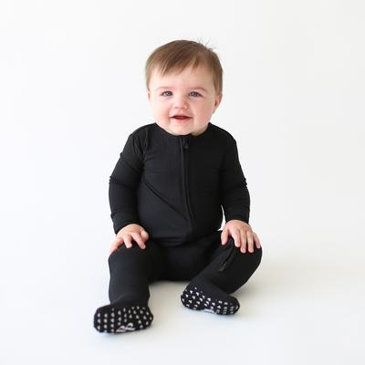 Posh Peanut Ribbed Black Zippered Footie