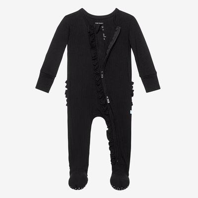 Posh Peanut Ribbed Black Ruffled Footie