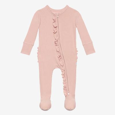 Posh Peanut Sweet Pink Ruffled Zippered Footie