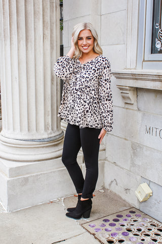 Victoria Leopard Crinkle Top