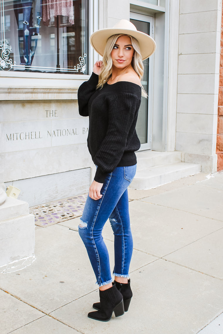 Jenn Off Shoulder Sweater Black