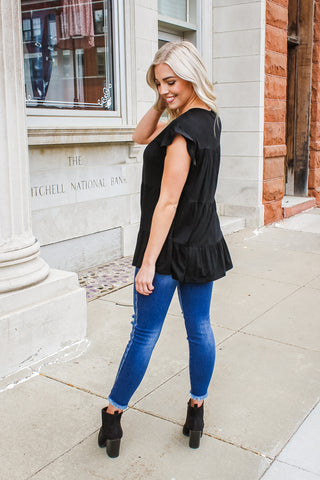 Jordan Ruffle Top Black