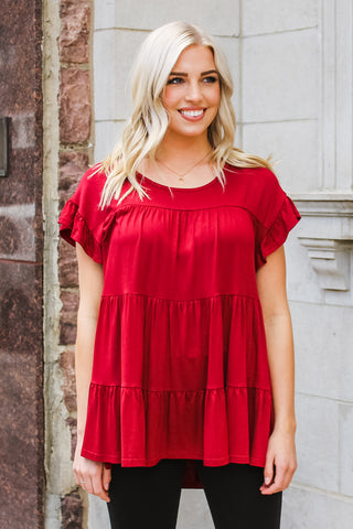 Jordan Ruffle Top Burgundy
