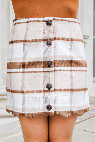 Dede Plaid Mini Skirt Khaki