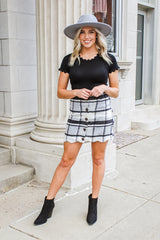Dede Plaid Mini Skirt Grey