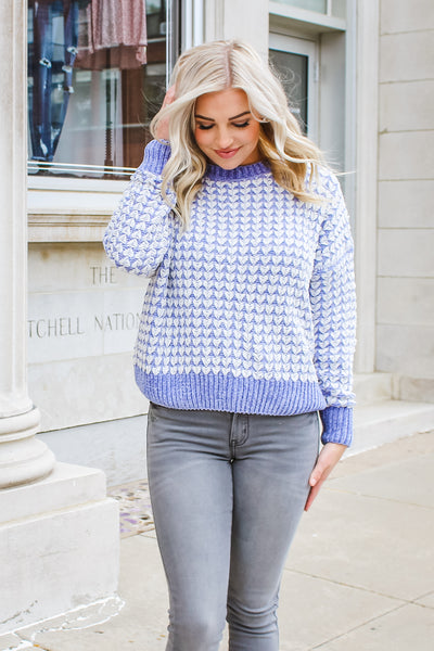 Abby Ribbed Knit Sweater Periwinkle