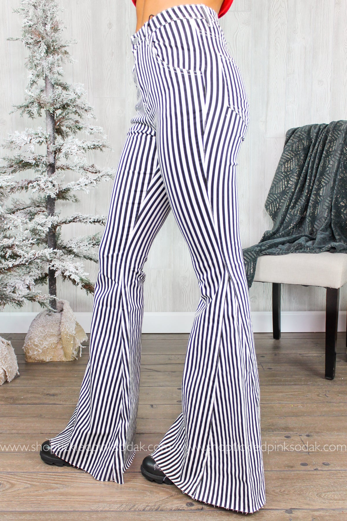 Logan High Waist Striped Bell Bottoms