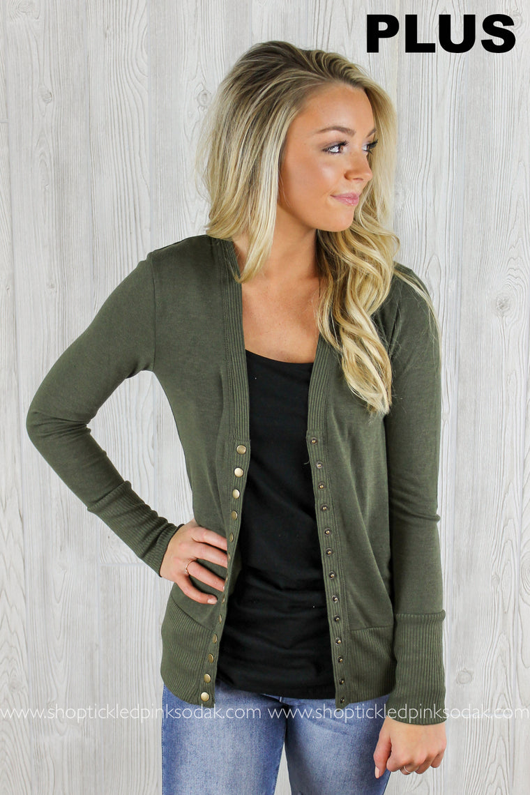 Blaire Snap Button Cardigan Plus