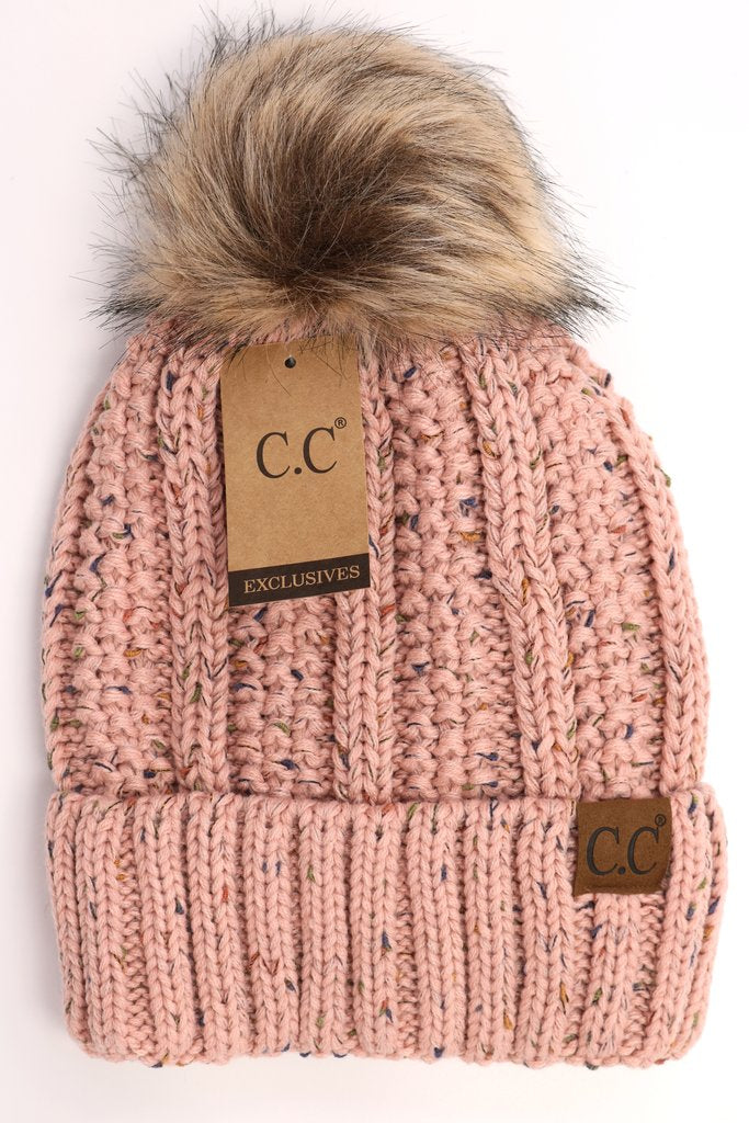 Flecked Lined Fur Pom Beanie