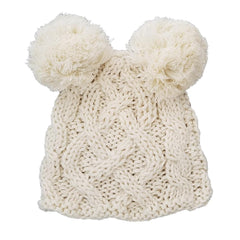 Newborn Cable Knit Pom Pom Beanie