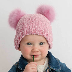 Chenille Double Pom Beanie