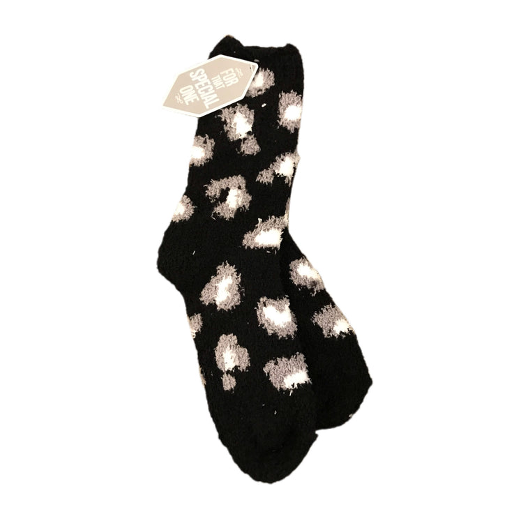 Lazy Leopard Cozy Socks Black