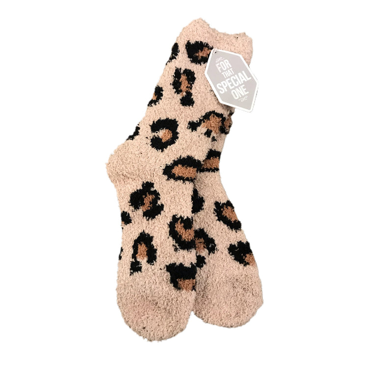 Lazy Leopard Cozy Socks Tan
