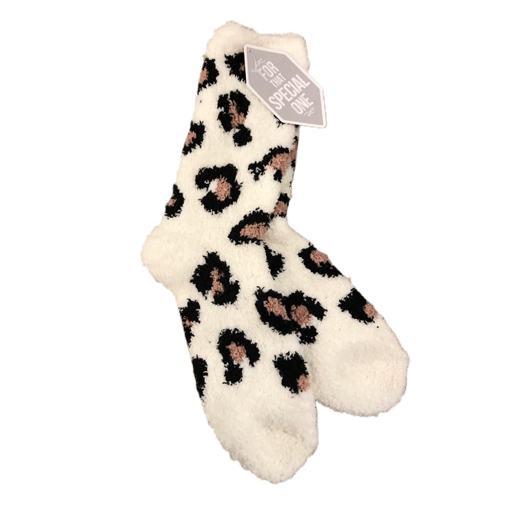 Lazy Leopard Cozy Socks Snow