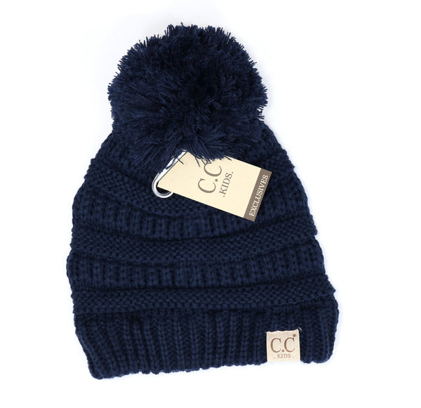 Kids Solid Pom CC Beanie - Tickled Pink Boutique Mitchell