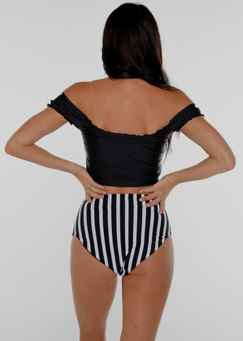 Off Shoulder Swim Top Black