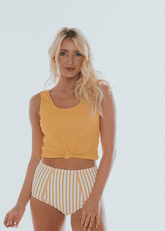 Scoop Neck Swim Top Yellow