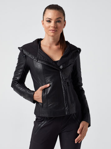 HOODED LEATHER PUFFER