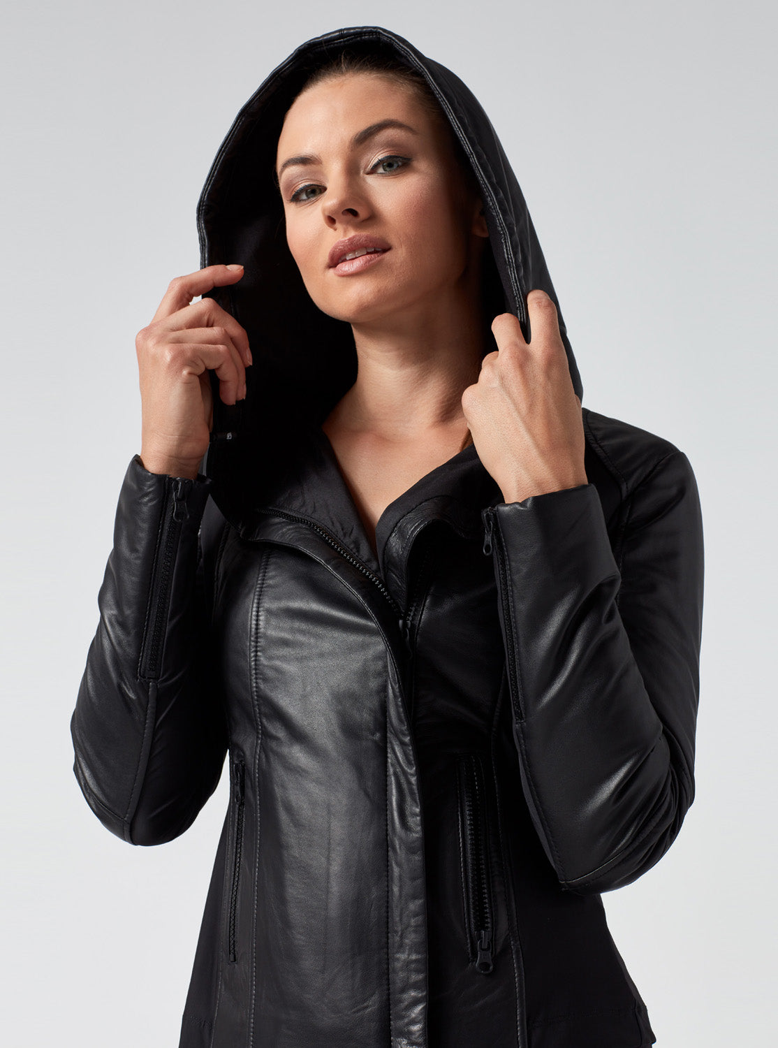 buying new new products for durable in use HOODED LEATHER PUFFER