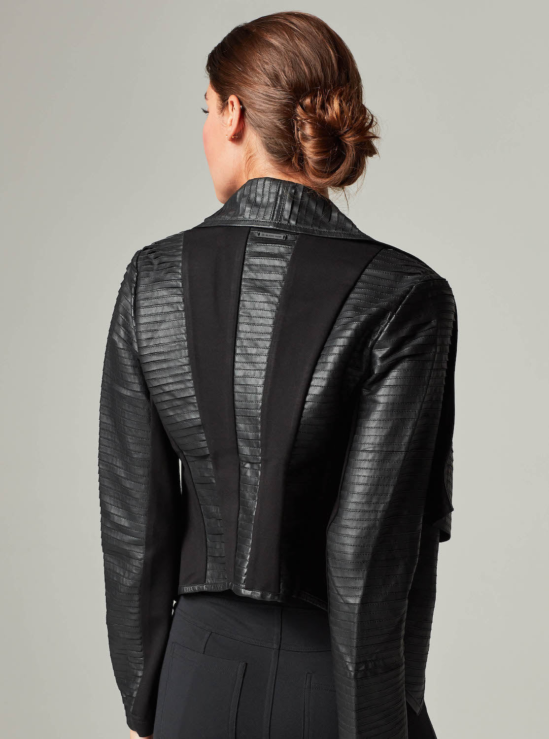 Strip Leather Drape Front
