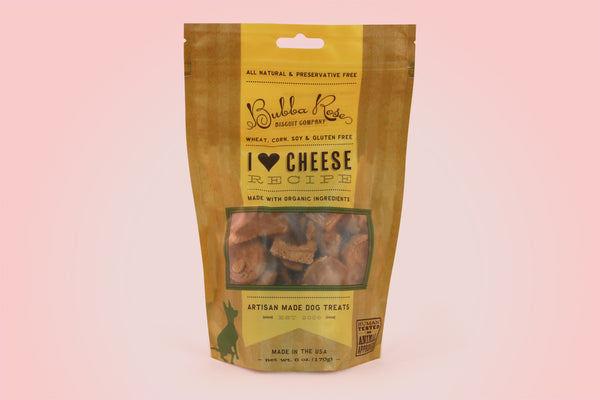 "Bubba Rose ""I Love Cheese"" Gluten Free Dog Biscuits"