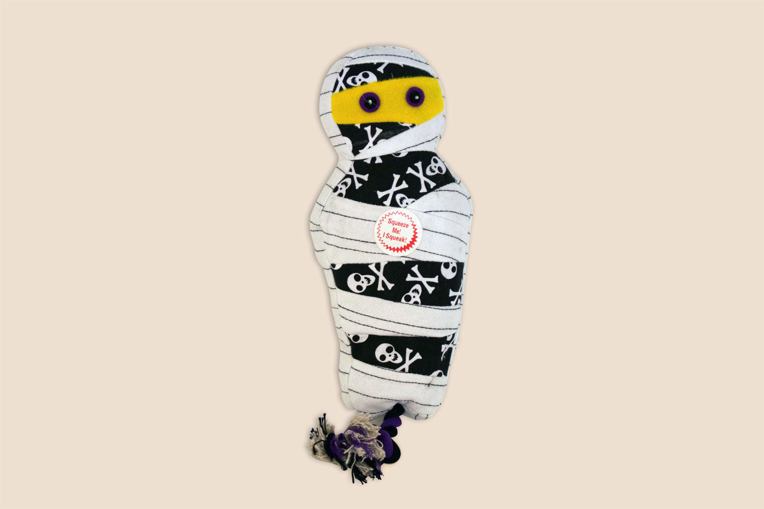 Canvas Mummy Dog Toy with Rope