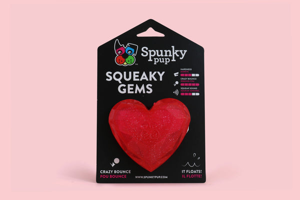 Spunky Pup Squeaky Gems Heart Dog Toy
