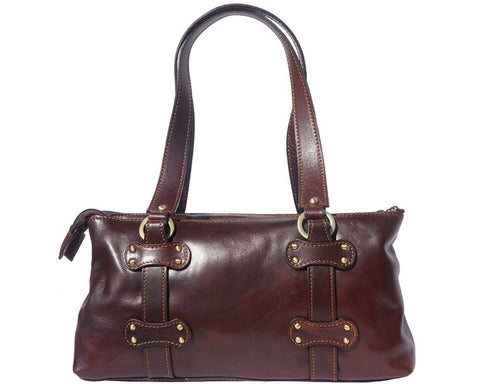 Florence Leather Lady Genuine Calf Leather Handbag With Three Compartments 6541 - Executive Leather
