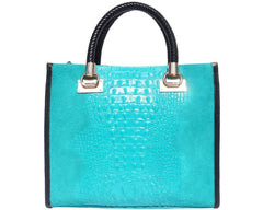 Florence Leather Open Tote Bag In Embossed Crocodile Patent Calf-Leather 7004
