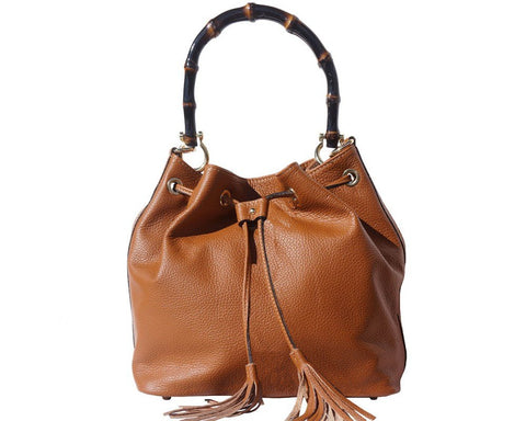 Florence Leather Bucket Bag In Genuine Calfskin Leather With Wooden Bamboo Handle 9135 - Executive Leather