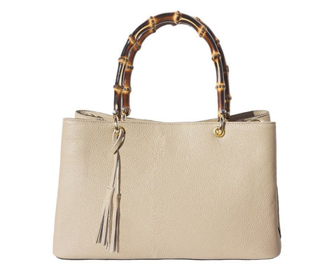 "Florence Leather Bamboo Handle Leather Handbag ""VERONICA"" With Golden Metal Hardware 9139 - Executive Leather"