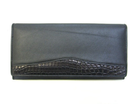 Adori Genuine Crocodile & Cow Leather Ladies Long Wallet - Executive Leather