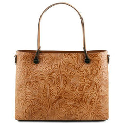 ATENA Leather Shopping Bag with Floral Pattern - TL141655