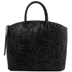 Gaia Women Leather Tote with Floral Pattern - TL141670