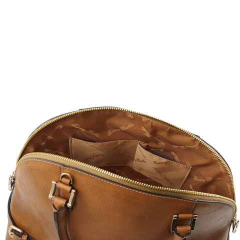 Leather handbag with buckles TL141235 - Executive Leather