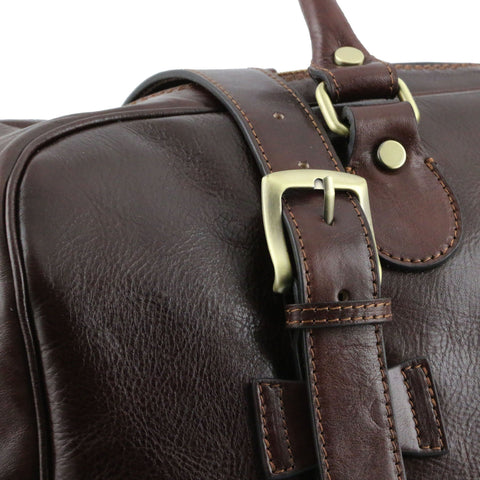 TL VOYAGER Italian Leather travel bag with front straps - Small size TL141249 - Executive Leather