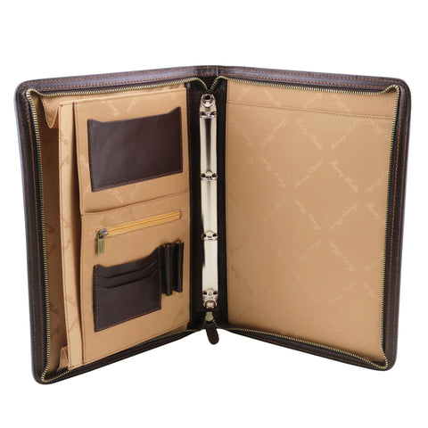 Exclusive leather document case with ring binder TL141293 - Executive Leather